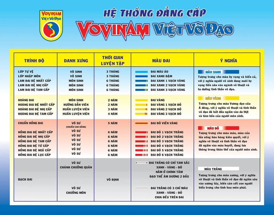 Tableau officiel des grades et ceintures en Vovinam Viet Vo Dao